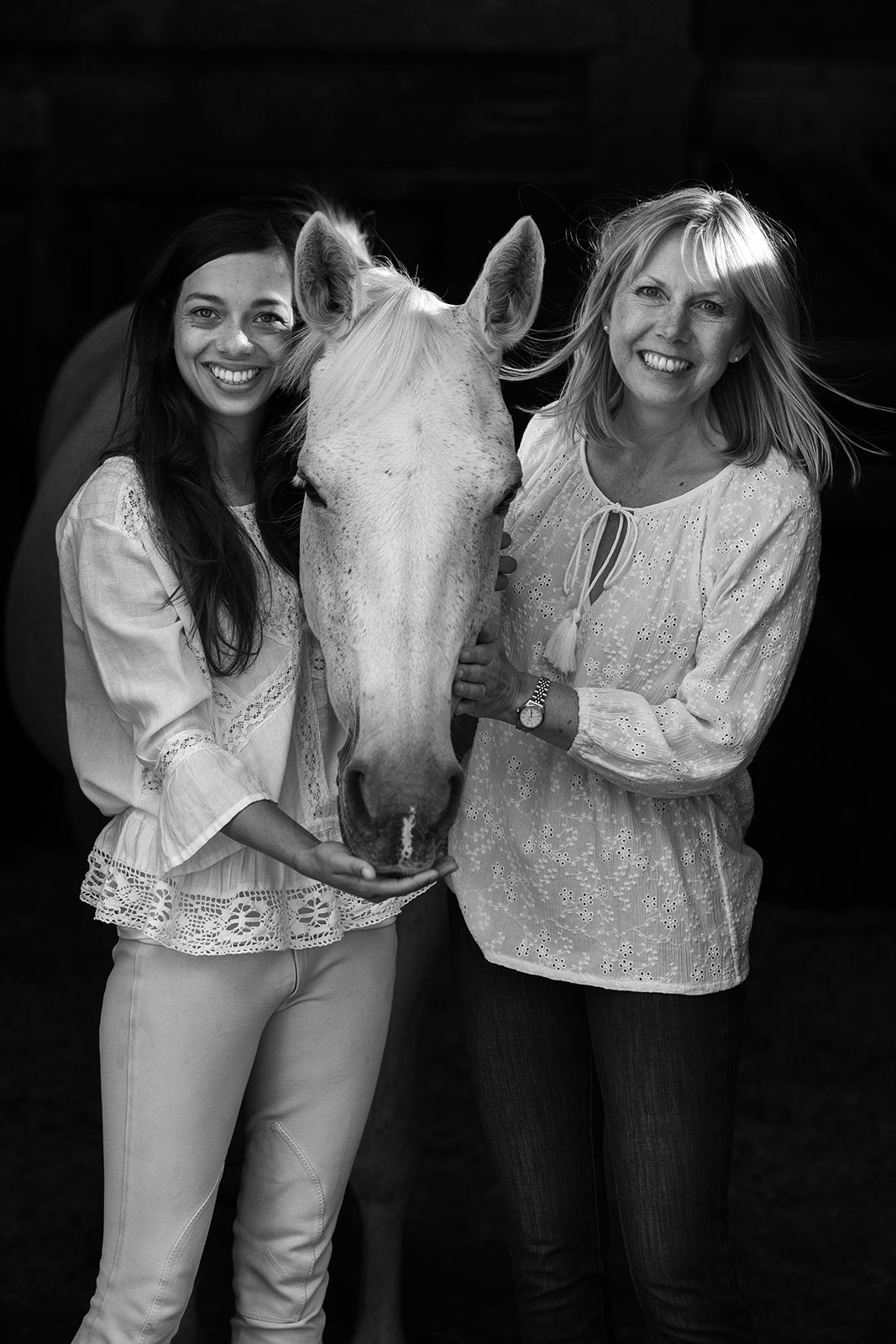 Photographger Jabe Rayner with a horse and her daughter